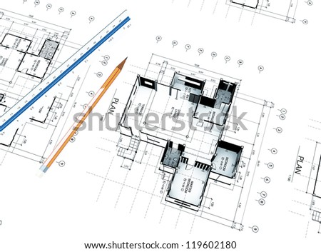 3d Home plot plan with white background