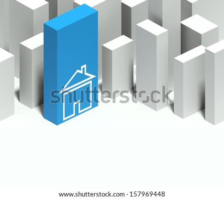 3d home symbol in conceptual model of miniature city with distinctive skyscraper, Background and copyspace