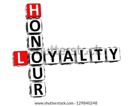 3D Honour Loyalty Crossword on white background - stock photo