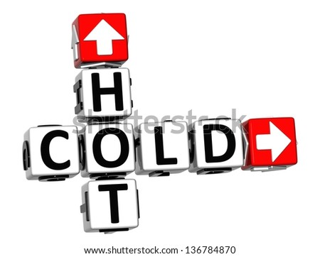 3D Hot Cold Crossword on white background - stock photo