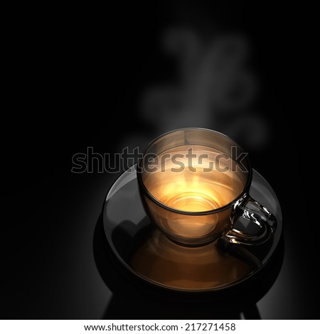 3d hot cup of tea in the background. - stock photo