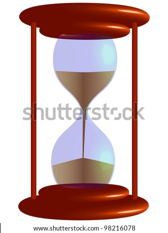 3d hour glass against white background, abstract art illustration - stock photo