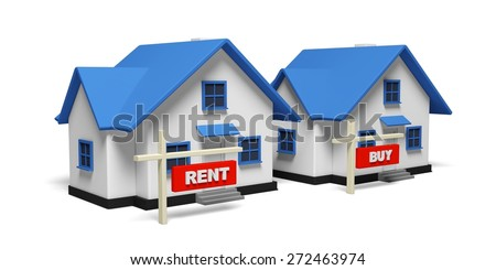 3D. House, Buy, For Rent Sign. - stock photo