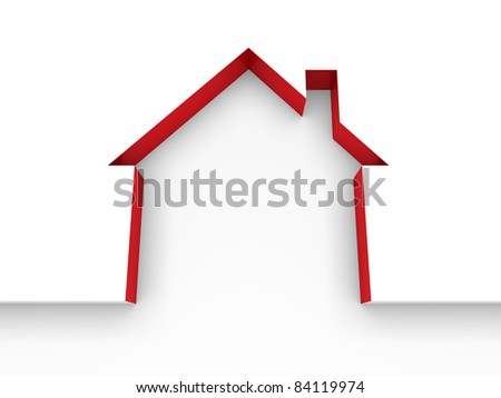 3d house estate red model home white - stock photo