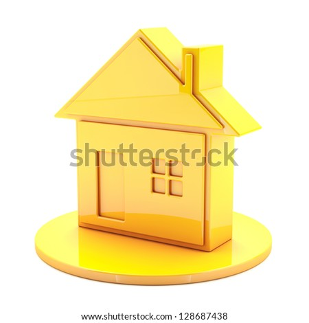 3D House Gold Icon - stock photo