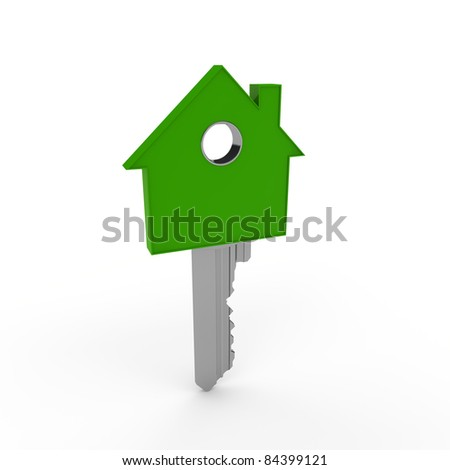 3d house home key green metal security