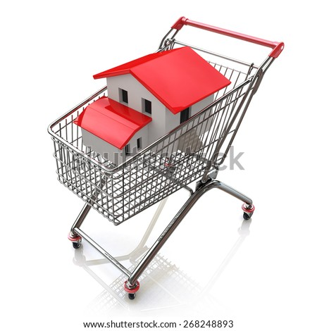 3D house in a shopping cart isolated on white