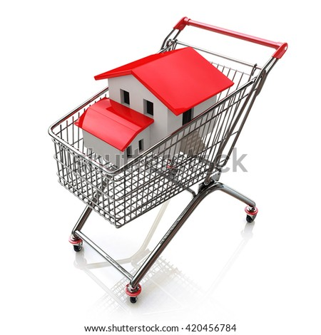 3D house in a shopping cart isolated on white in the design of the information related to the purchase of Real Estate. 3d illustration - stock photo