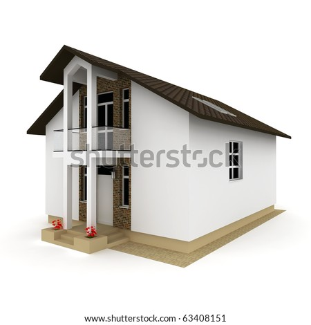 3d house isolated on white rendered generic