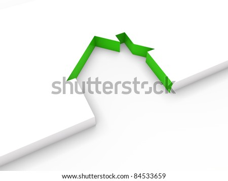 3d house line green white home estate - stock photo