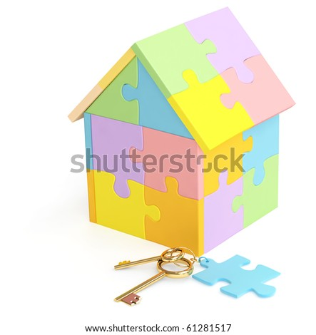 3d house made of parts of a puzzle