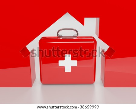 3d House metaphore and insurance isolated on the white background - stock photo