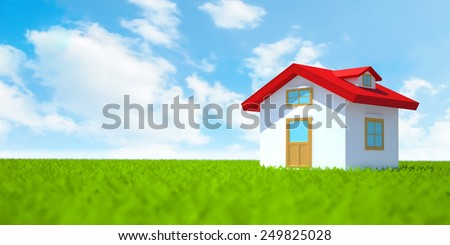 3d house on green field with blue sky. - stock photo