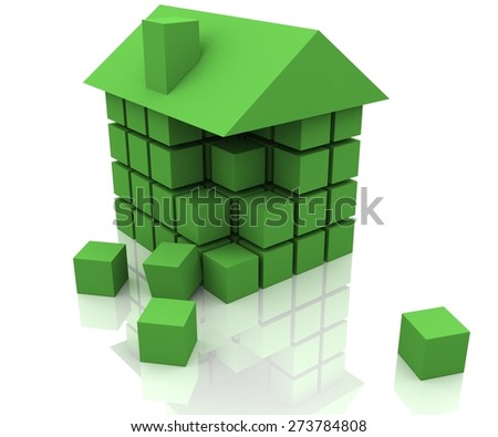 3D. House, Real Estate, Block. - stock photo