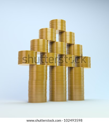 3d House symbol build out of money - stock photo