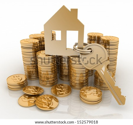 3d house symbol with key on Pile of gold coins. Conception of growth of mortgage credit - stock photo
