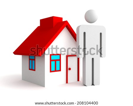 3d house with person man icon. real estate concept 3d render illustration - stock photo