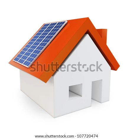 3d house with solar power on white background - stock photo