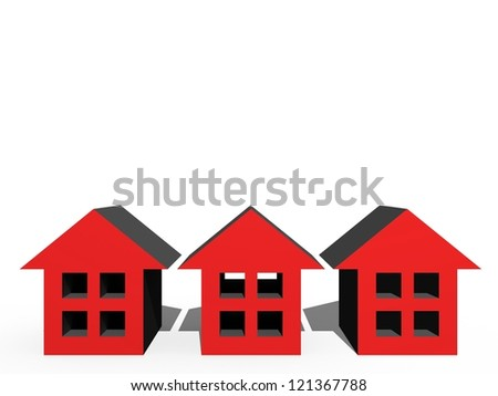 3D houses isolated against a white background
