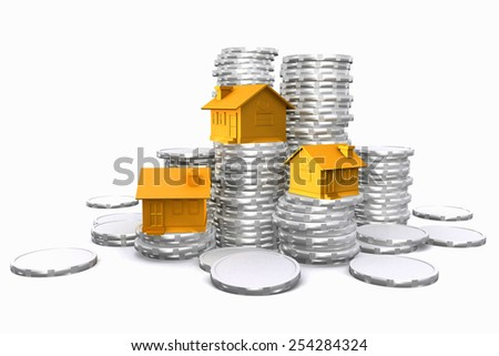 3d houses on coin stack. Real estate. - stock photo