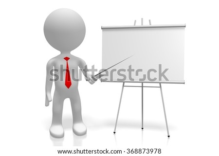3D human alike character and empty presentation board.