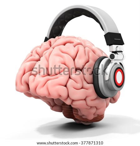 3d human brain with headphones on white background - stock photo