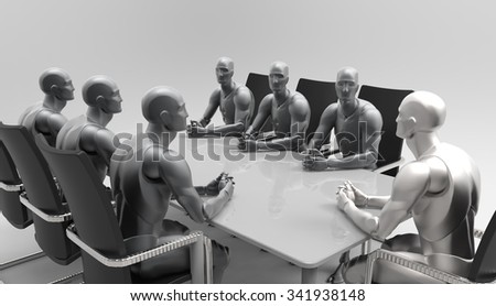 3D Human business meeting and education deal discuss. Government meeting in the Cabinet. Presentation of the new product. Meeting at the business forum. - stock photo