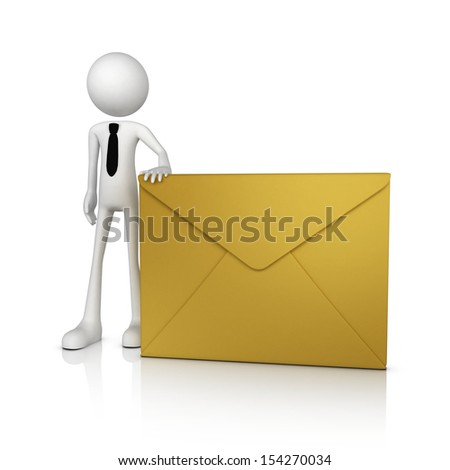 3d human businessman with envelope. Isolate on white background - stock photo