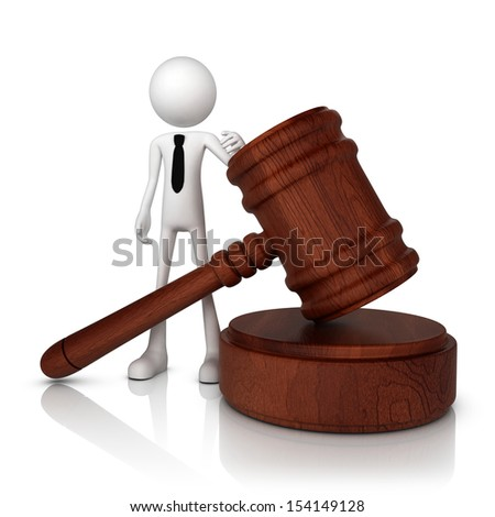 3D human businessman with judge hammer. Isolate on white background