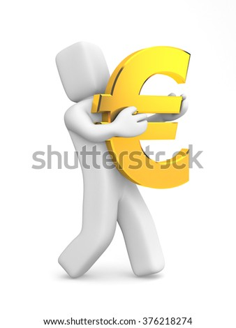 3d human carry gold Euro symbol - stock photo