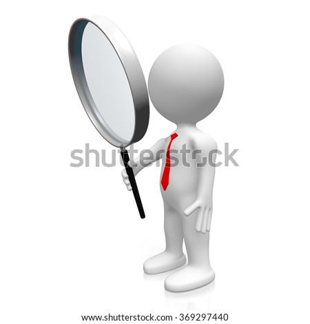 3D human character and magnifying glass - great for topics like research, analysis etc. - stock photo