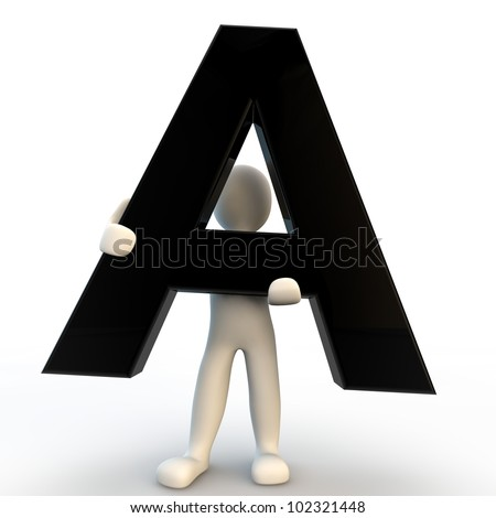 3D Human character holding black letter A, small people - stock photo
