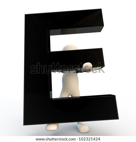 3D Human character holding black letter E, small people - stock photo