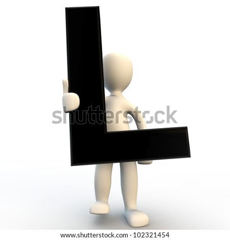 3D Human character holding black letter L, small people - stock photo