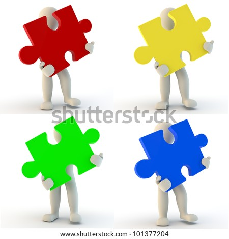3D Human character holding jigsaw puzzle, 3d render - stock photo