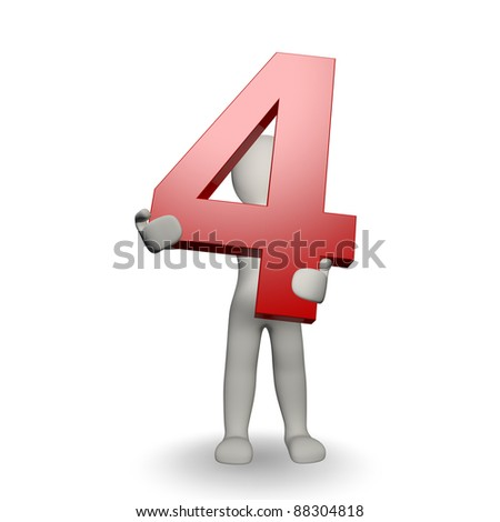 3D Human character holding number four, 3d render, isolated on white - stock photo