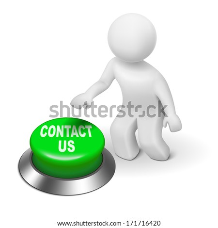 "3d human character pressing a button ""contact us"" isolated white background"