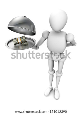 3d human character with money on silver tray