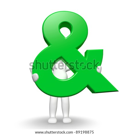 3D Human charcter holding green And sign, 3d render, isolated on white