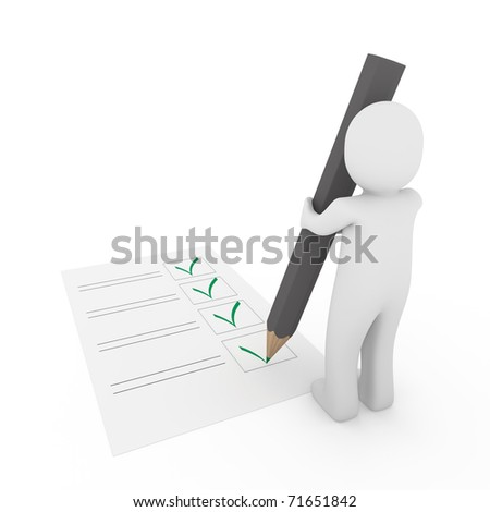 3d human check box paper pen pencil green