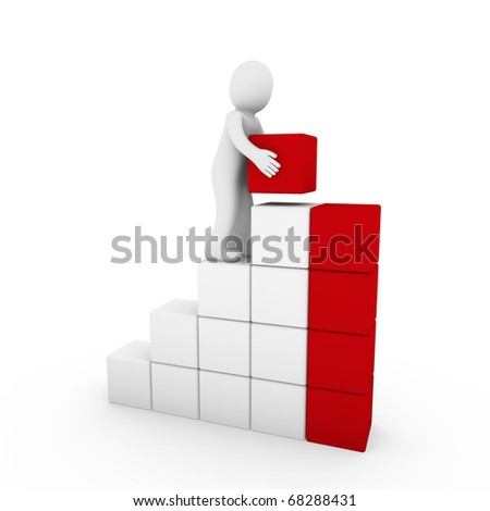 3d human cube tower red white success business isolated - stock photo