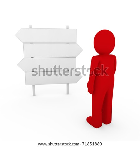 3d human direction sign way red arrow business