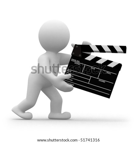 3d human director with clapper for movie - stock photo