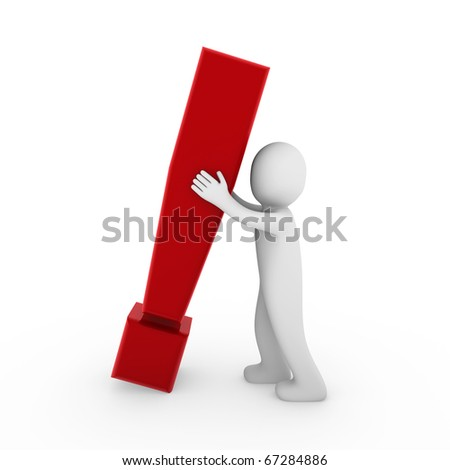 3d human exclamation mark red business symbol isolated