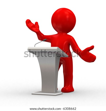 3d human give a lecture behind a podium - stock photo