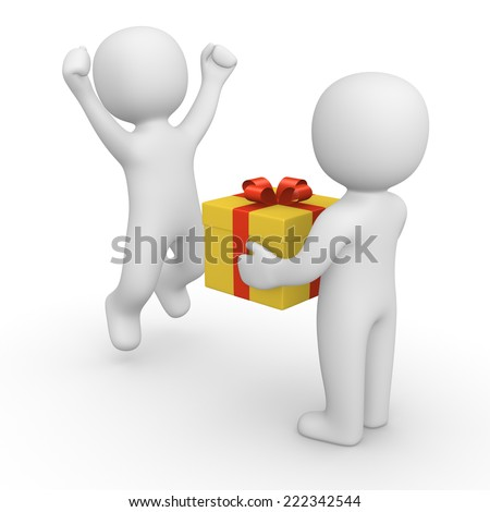 3d human giving gift to another person - stock photo