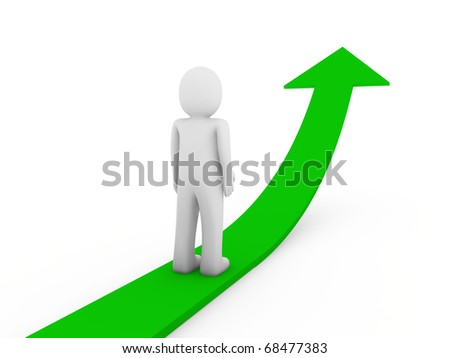 3d human green arrow growth success business isolated