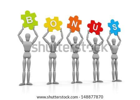 3D Human hand up with Bonus Sign - stock photo