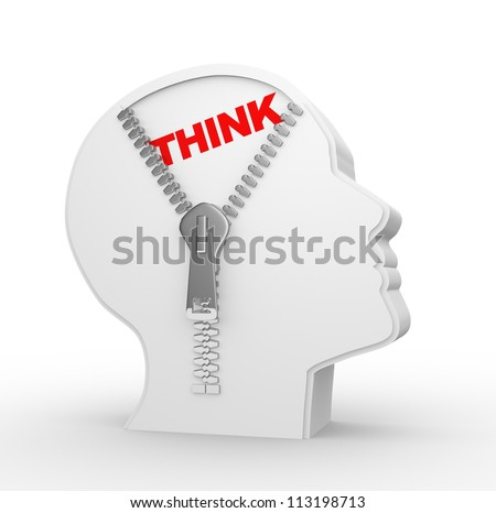 3d human head and a open zipper.  A abstract conceptual image about human thinking.