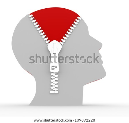 3d human head and o open zipper. Concept of intelligence - stock photo